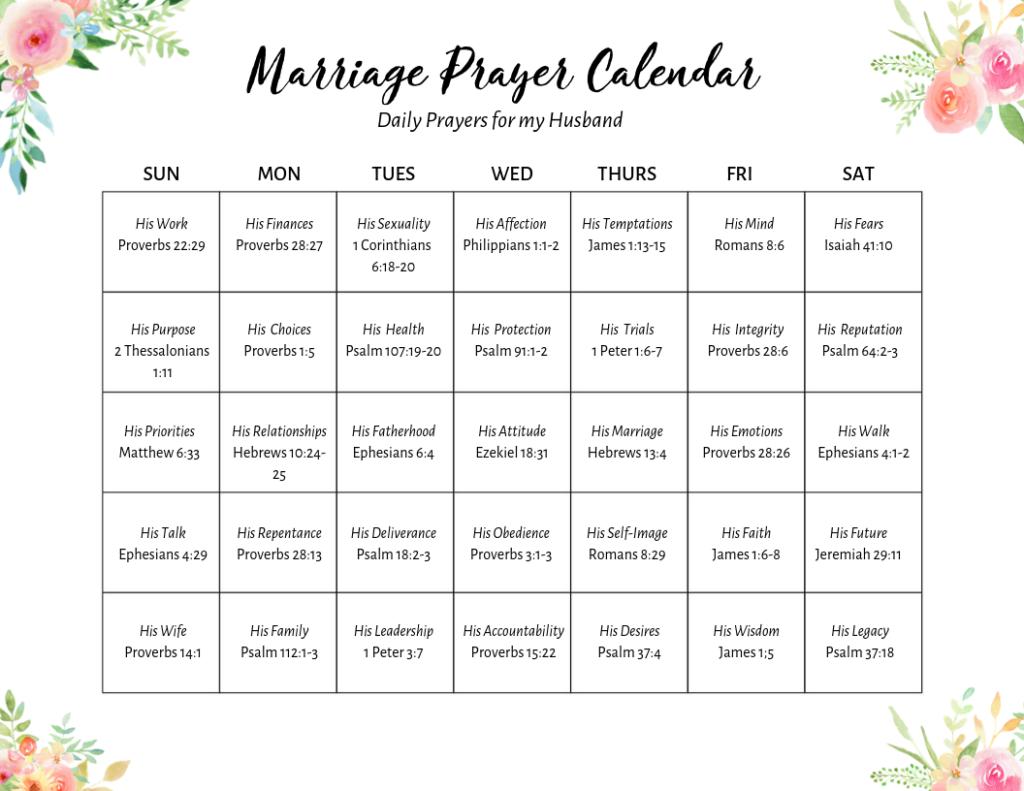 pray over your husband calendar 2
