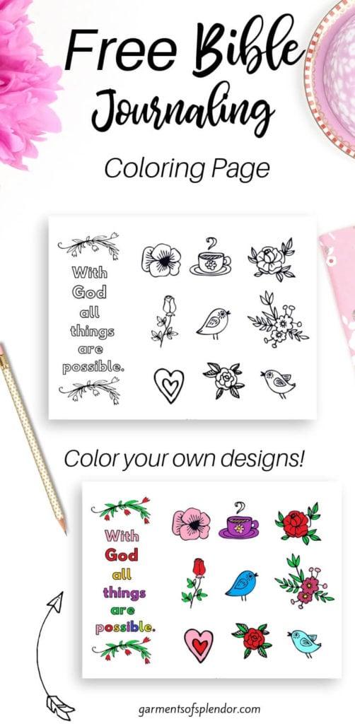 free Bible journaling coloring page