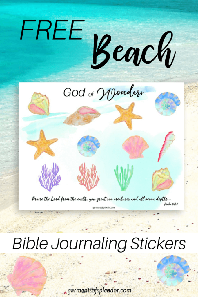 Free beach Bible journaling stickers