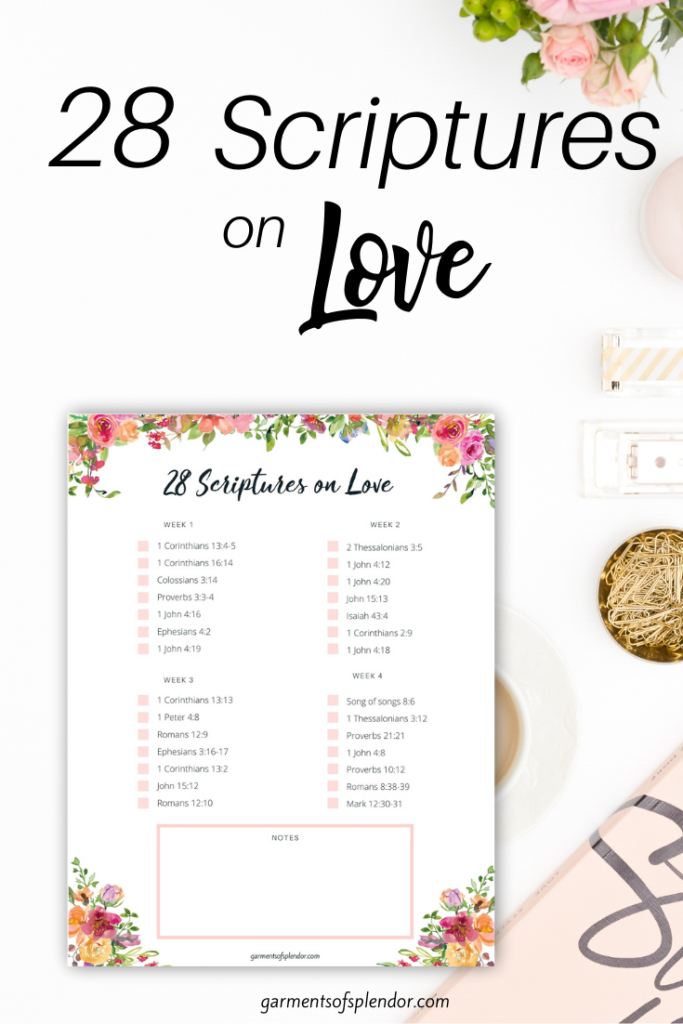28 scriptures on the love of God free printable