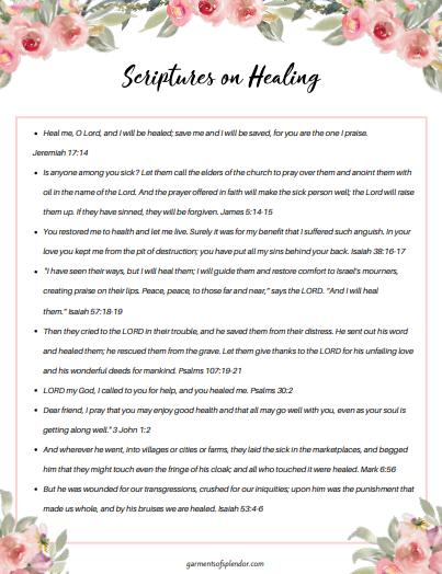Scriptures on healing printable